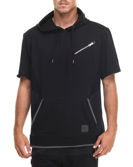 Ur-ID 217220 Allston Outfitter - Men Black Mesh & French Terry Pullover S/S Hoodie