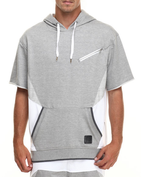 Allston Outfitter - Men Grey Mesh & French Terry Pullover S/S Hoodie