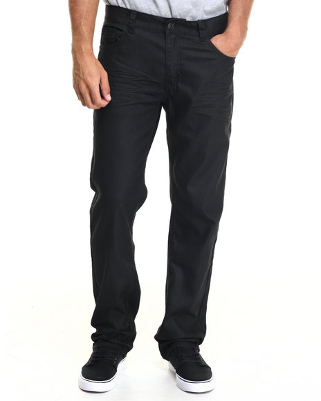 Buyers Picks - Men Black Blacked Coated Back Flap Pocket Denim Jeans