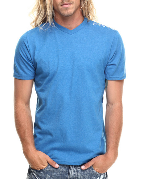 Rocawear - Men Blue Heathered V-Neck Tee