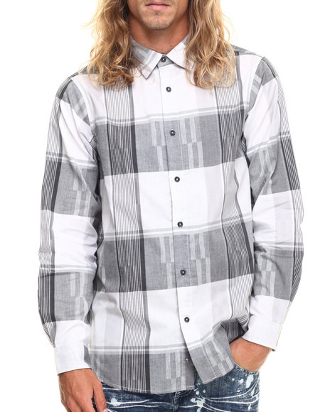 Ur-ID 217257 Rocawear - Men White Textured Plaid Button-Down