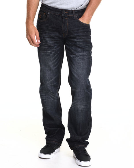Rocawear - Men Dark Wash Black & Blue Jeans