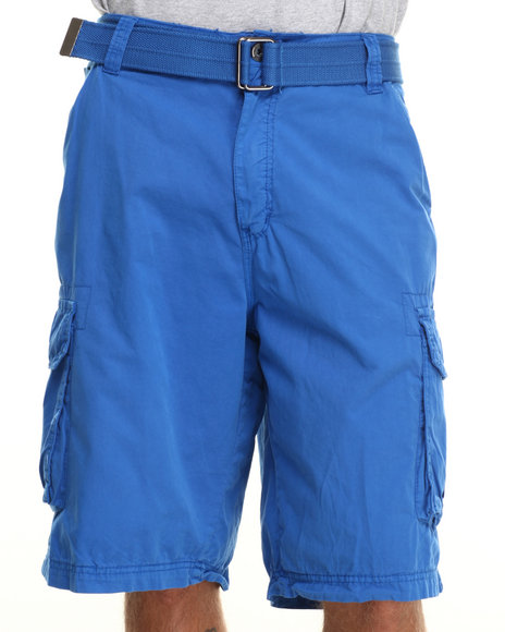 Buyers Picks - Men Blue Belted Twill Cargo Shorts
