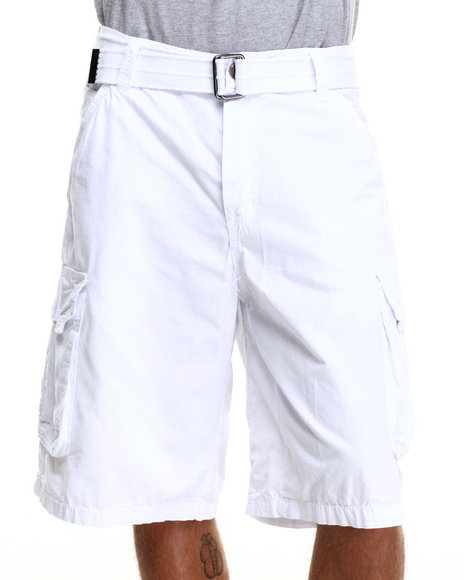 Buyers Picks - Men White Belted Basic Double Pocket Cargo Shorts