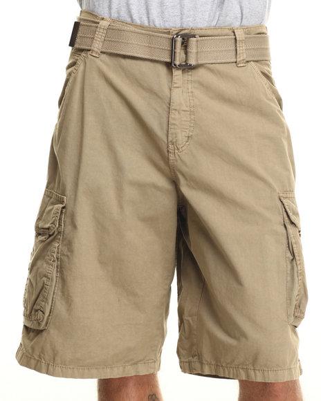 Buyers Picks - Men Khaki Belted Basic Double Pocket Cargo Shorts