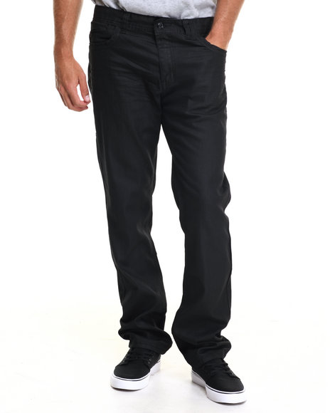 Buyers Picks - Men Black Black Piping Coated Denim Jeans