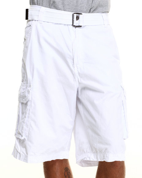 Buyers Picks - Men White Belted Twill Cargo Shorts