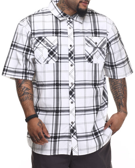 Basic Essentials - Men White Basic Plaid S/S Button-Down
