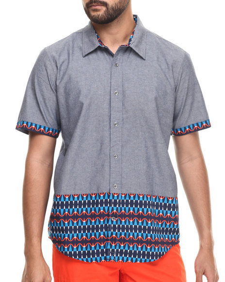 Ur-ID 217360 LRG - Men Navy Guinea S/S Button-Down