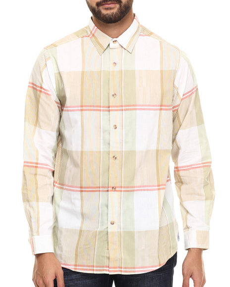 Ur-ID 217271 Rocawear - Men Light Brown Textured Plaid Button-Down