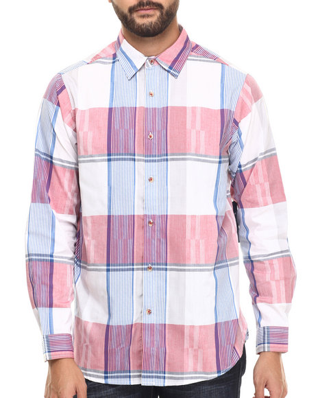 Ur-ID 217272 Rocawear - Men Red Textured Plaid Button-Down