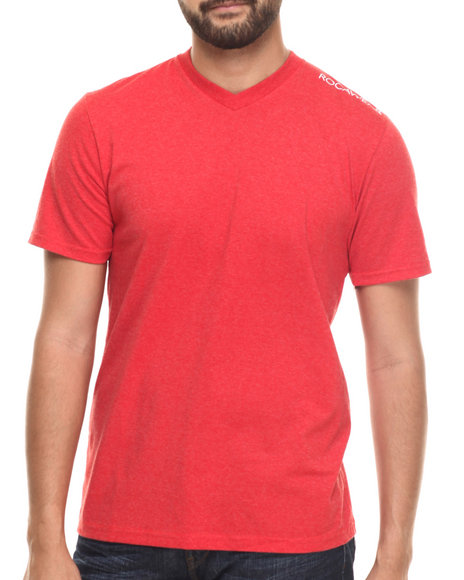 Rocawear Men Heathered V-Neck Tee Red Large