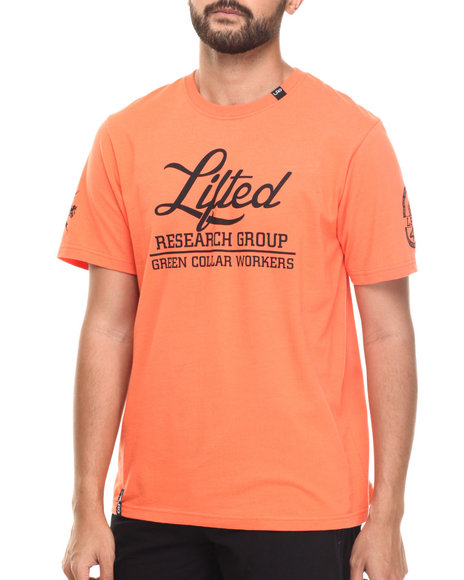Lrg - Men Orange Green Collar T-Shirt - $17.99