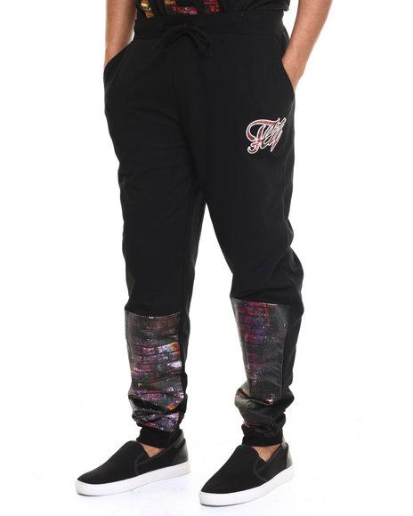Ur-ID 217290 Flysociety - Men Black Wet Pant Sweatpant