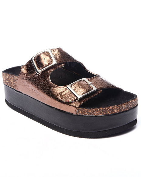 Ur-ID 217273 Fashion Lab - Women Bronze Yogi Buckle Slip-On Sandals