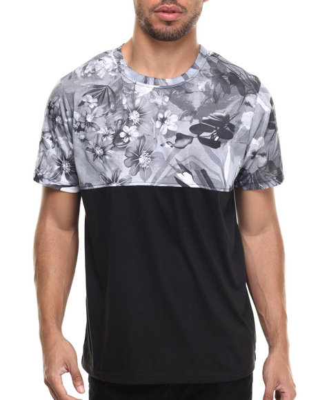 Ur-ID 217381 Waimea - Men Black,Grey Floral Colorblock Print Tee