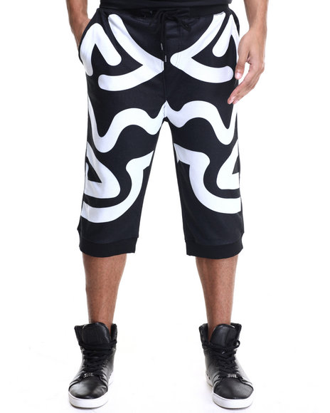 Waimea - Men Black Abstract Dropcrotch Short