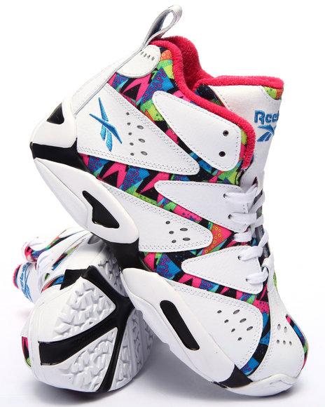 Reebok - Boys White Kamikaze I Mid Leather Sneakers (3.5-7) - $90.00