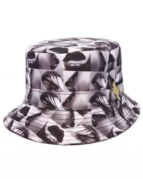 Buyers Picks Men Pradagy Hot Lips Bucket Hat Black