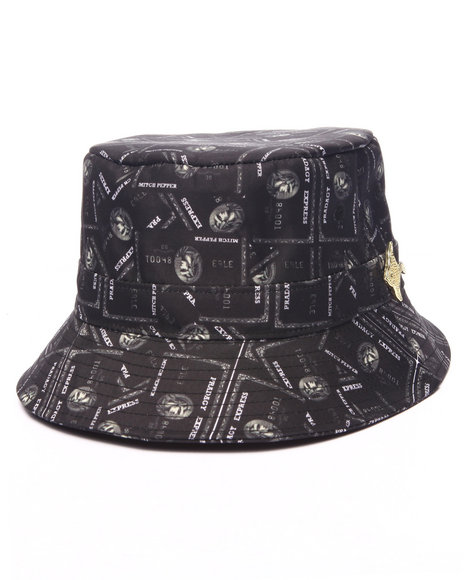 Buyers Picks Men Pradagy Black Card Bucket Hat Black