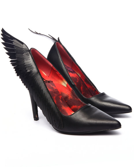 Y.R.U. - Women Black Angyl Wing Pump