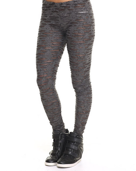 Ur-ID 217459 Vertigo - Women Charcoal Stretch Burnout Mesh Legging