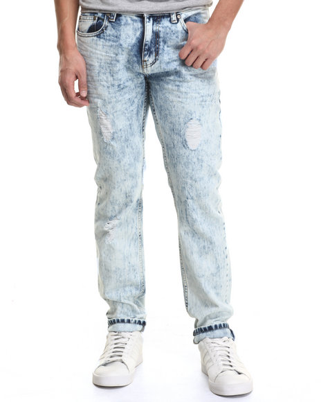 Basic Essentials - Men Light Wash Rip And Repair Denim Jeans
