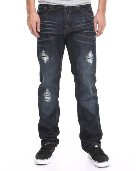 Basic Essentials - Men Dark Wash Rip And Repair Denim Jeans