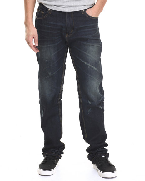 Ur-ID 217394 Basic Essentials - Men Dark Wash Ripple Effect Denim Jeans