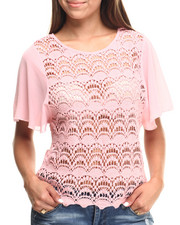 Women - Cotton Crochet Body Chiffon Sleeves Top