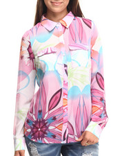 Women - Tropical Print L/s Chiffon Shirt