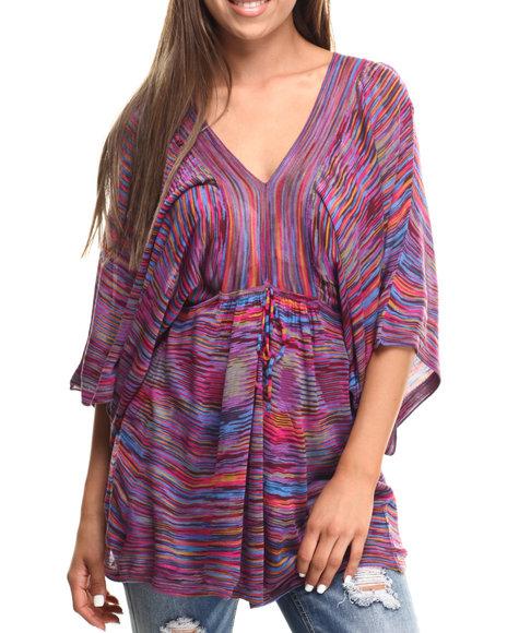 Ur-ID 217427 Vertigo - Women Purple Spaced Dyed Dolman Sleeve Tunic Top
