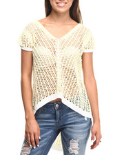 Women - Honeycomb Crochet  2-Tone Tail Knit Top