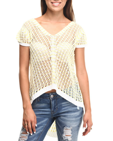 Vertigo - Women White,Yellow Honeycomb Crochet  2-Tone Tail Knit Top