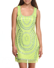 Dresses - Around Jewels Mesh Sheath Dress
