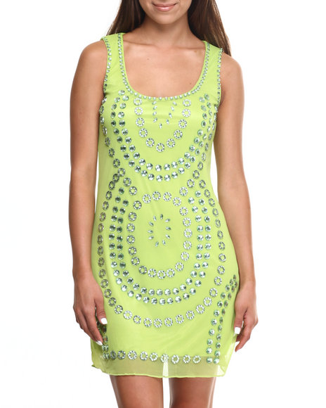 Ur-ID 217429 Vertigo - Women Lime Green Around Jewels Mesh Sheath Dress