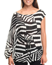 Short-Sleeve - Geo Print Dolman Sleeve 1 Shoulder Top