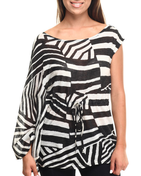 Ur-ID 217432 Vertigo - Women Beige,Black Geo Print Dolman Sleeve 1 Shoulder Top