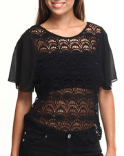 Short-Sleeve - Cotton Crochet Body Chiffon Sleeves Top