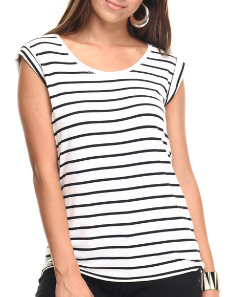 Ur-ID 217438 Vertigo - Women Black,White Striped Jersey Rouched Back Knit Top