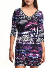 Women - Snake Print Vneck Sheath Dress