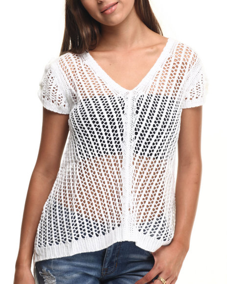 Ur-ID 217445 Vertigo - Women White Honeycomb Crochet  Tail Knit Top