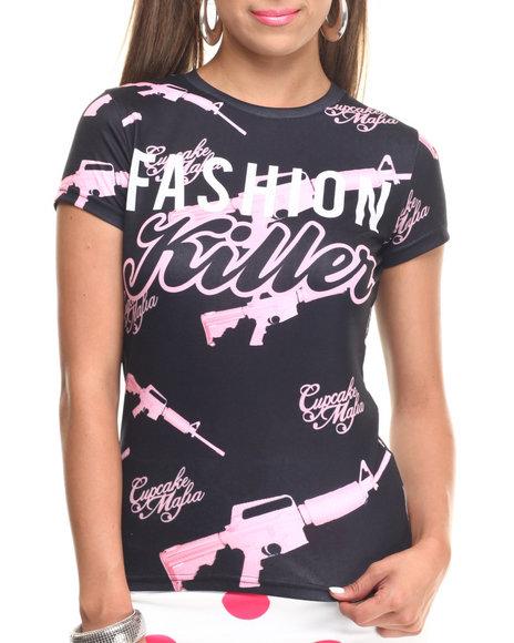 Ur-ID 217458 Cupcake Mafia - Women Black Fashion Killer Tee