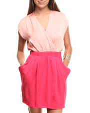 Women - Rouched Surplice Colorblock Dress