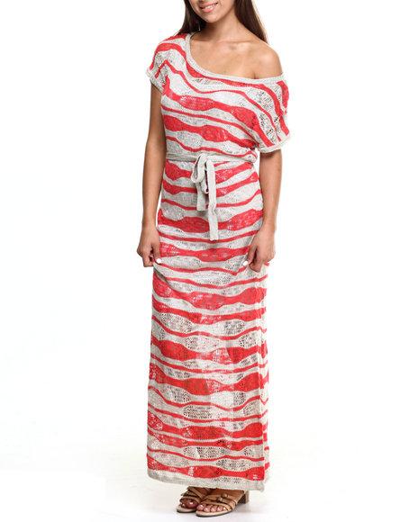 Ur-ID 217466 Vertigo - Women Orange,Tan Wavy Stripe Crochet Knit Maxi