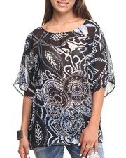 Women - Leaf Stamp Printed Chiffon Top