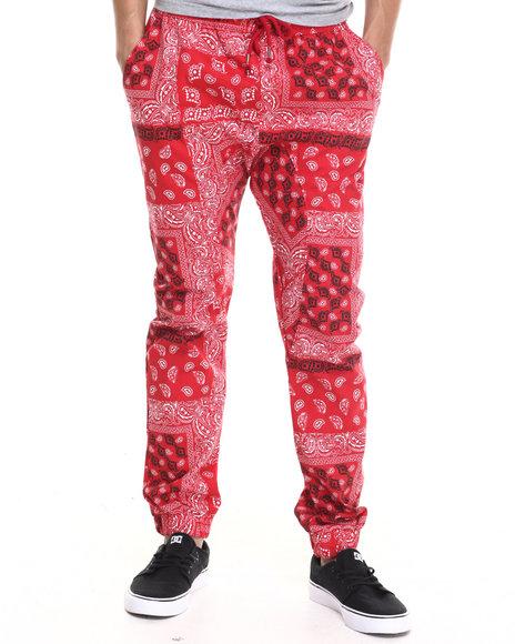 Ur-ID 217471 Basic Essentials - Men Red Bandana - Print Twill Jogger Pants