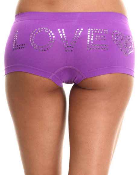 Drj Lingerie Shoppe - Women Blue,Pink,Purple Love Rhinestone/Solid 3Pk Seamless Short Set - $5.99