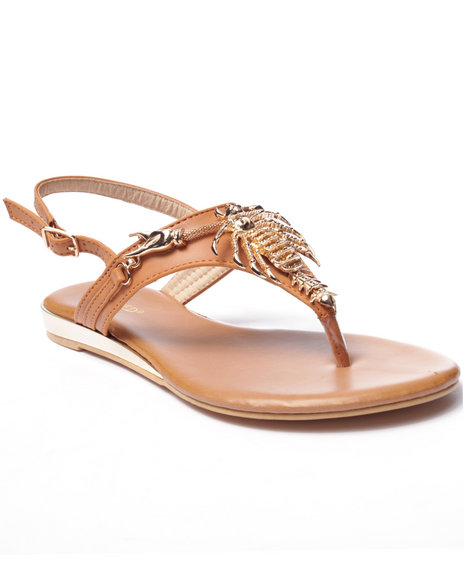 Ur-ID 217494 Fashion Lab - Women Tan Maine Claw Strap Sandals