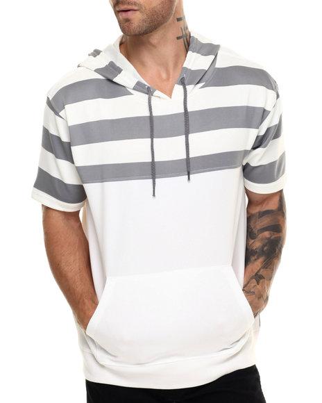 Waimea - Men Off White,Grey Elongated Striped Hoodie W Zip Detail